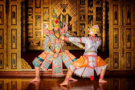 Kunstcultuur Thailand Dansen in gemaskerde khon in literatuur ramayana, Thaise klassieke gemaskerde aap, Khon, Thailand Stockfoto