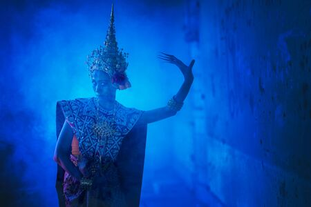 Ancient Thai ghost in traditional costume that appear in History, woman wearing typical Thai dress, Ghost, Halloween woman and devil. Stock Photo