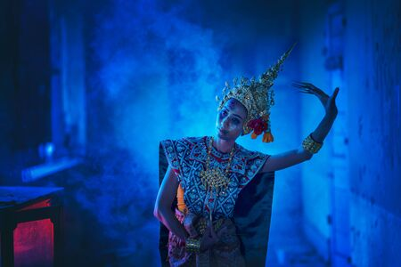 Ancient Thai ghost in traditional costume that appear in History, woman wearing typical Thai dress, Ghost, Halloween woman and devil.