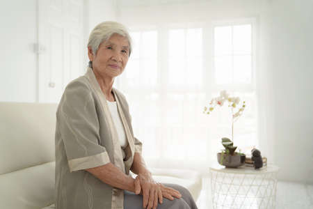 Smiling senior woman sitting on sofa and looking at camera. Awaken old woman with grey hair and pajamas in the early morning light. Portrait of elderly woman lying and smiling. 免版税图像 - 151085885