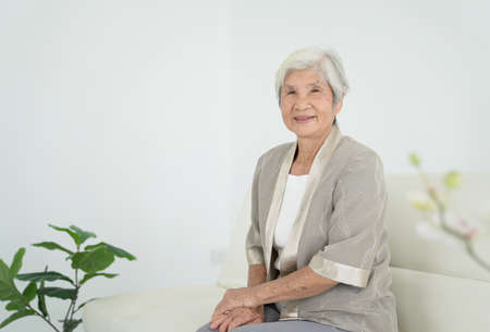 Smiling senior woman sitting on sofa and looking at camera. Awaken old woman with grey hair and pajamas in the early morning light. Portrait of elderly woman lying and smiling. 免版税图像 - 151085889