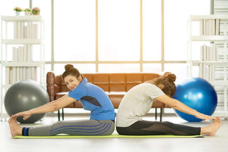 Woman working out with fitness ball of sportswomen practicing yoga. Stretching using fitness ball at home Stock fotó