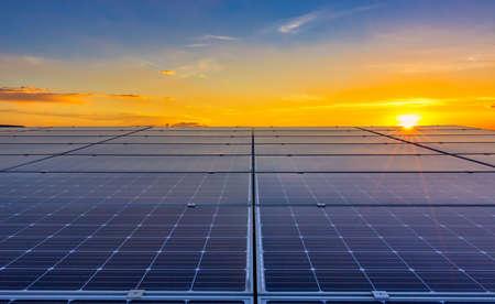 Solar cell with sunlight background, Green energy or safe energy, Solar power station - photovoltaics 版權商用圖片