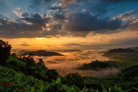 Sunrise over a mountain valley. Beautiful image of green valley near river in a natural summer scenic setting. A beautiful day near the water. Morning fog creates a peaceful ambiance. 免版税图像