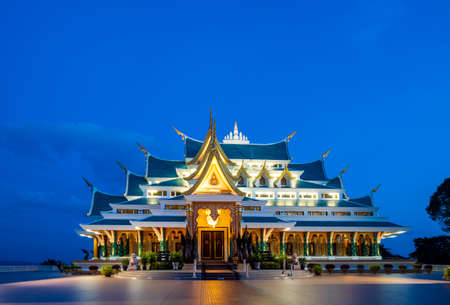 Watpaphukon Temple is a Buddhist temple with a natural setting and an infrared style. Thailand, Udon Thani 免版税图像