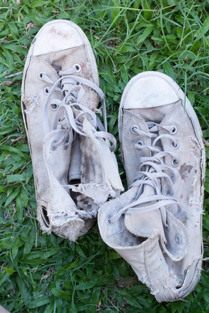 Lack old shoe lay on the grass green.