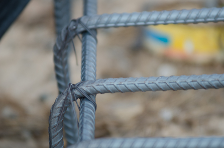 site preparation: It is a bundle of steel bars To prepare pour pole construction. Stock Photo