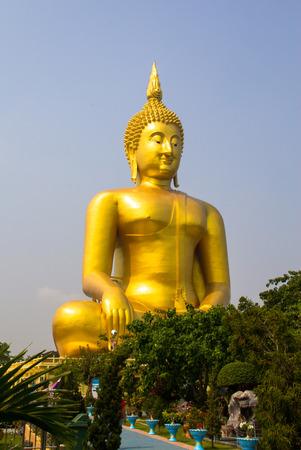 angthong: The golden buddha view at Wat Muang, Thailand.