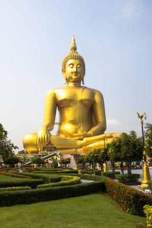 angthong: the biggest golden buddha at aungthong, Thailand.