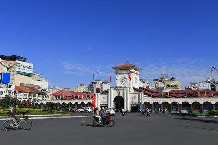 domination: HO CHI MINH CITY,VIETNAM - CIRCA SEP 2014: Ben Thanh market at Quach Thi Trang park in Ho chi minh city ( saigon ). Ben Thanh market built in French domination and the symbol of Hochiminh city