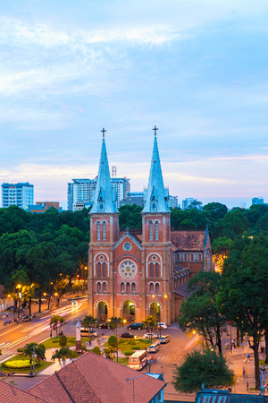HO CHI MINH CITY  VIETNAM - DEC 17 2014: sunset or sunrise at Night view Notre Dame Cathedral ( Saigon Notre-Dame Basilica ), downtown of Ho Chi Minh City, Vietnam, established by French colonists Editorial