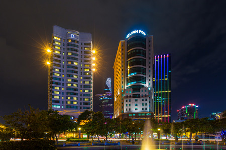 Ho Chi Minh City, Vietnam - November 16 2014 : night view of the Me Linh square and buildings around at downtown of in Hochiminh city, Vietnam, near Saigon riverside.