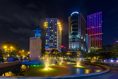 tran: Ho Chi Minh City, Vietnam - November 16 2014 : night view of the Me Linh square and buildings around at downtown of in Hochiminh city, Vietnam, near Saigon riverside.