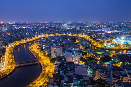 Nhieu Loc canal at night view at Ho Chi Minh City ( Saigon ), a branch of Saigon river, Vietnam. The canal is flow over the center of the city