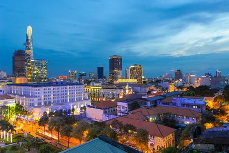 Ho Chi Minh City, Vietnam - December 17 2014: night view of Ho Chi Minh cityscape, VIetnam