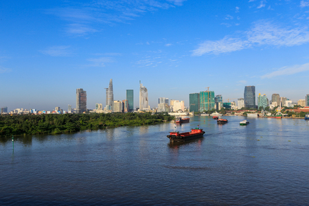 Ho Chi Minh City, Vietnam - September 2 2014 : Saigon river in the sunrise at Ho Chi Minh City, Vietnam.