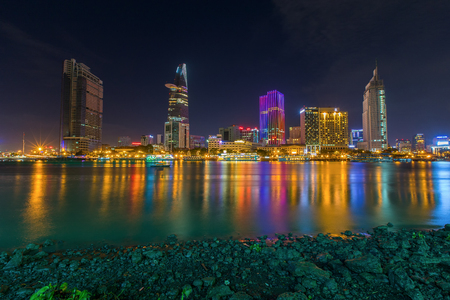 runnel: Ho Chi Minh City, Vietnam - September 9 2014 : night view of Saigon river at downtown ( center ) of ho chi minh city, Vietnam.