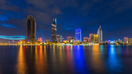 Ho Chi Minh City, Vietnam - September 9 2014 : night view of Saigon river at downtown ( center ) of ho chi minh city, Vietnam.