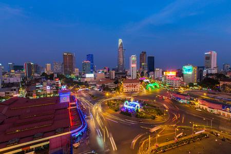 Ho Chi Minh City, Vietnam - January 25 2015 : Downtown Saigon and Quach Thi Trang park in sunset, Ho Chi Minh city, Vietnam, near Ben Thanh market and Bitexco tower