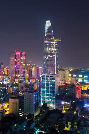 Ho Chi Minh City, Vietnam - March 17 2015 : night view of Ho Chi Minh cityscape in sunset, VIetnam Editorial