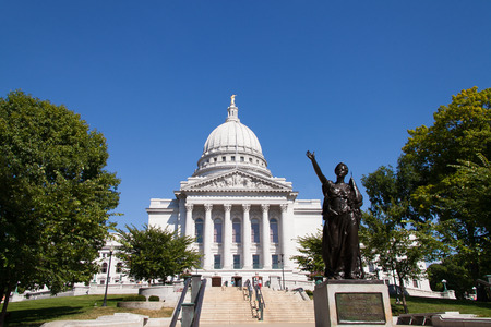 State Capitol of Wisconsin, Madison, USA. Wisconsin is a tributary of the Mississippi River in Wisconsin, a midwestern state in north central United States Editorial