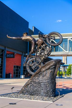 Statue in front of Harley Davison Museum at Milwaukee, Wisconsin , USA . Milwaukee is home of Harley Davison brand
