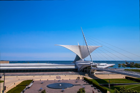 Milwaukee, USA - August24 2013 :The Milwaukee Art museum welcomes visitors on September 25, 2013. The wings of this unique building fold and unfold twice daily.