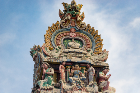 mariamman: Hinduism statue of Sri Mariamman temple at China town in Singapore. Stock Photo