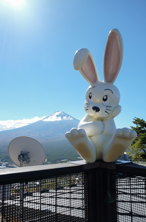 fench: Symbol of rabbit silhouette folk tale and Fuji mountain