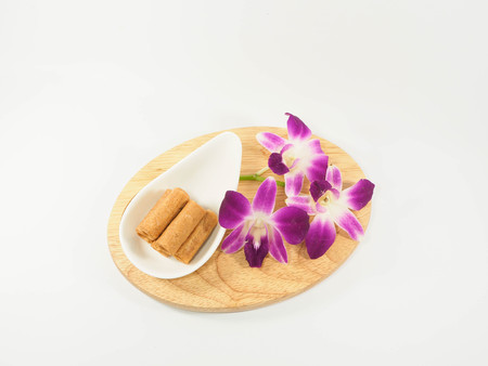 thai orchid: Thai dessert, wafer on the wooden chopping block