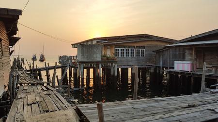 fischerei: Fischerei Dorf in den Sonnenuntergang