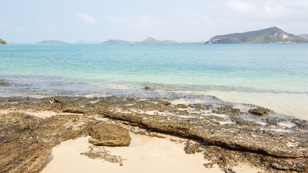 seawater: Rock beach and clear seawater in the tropical island