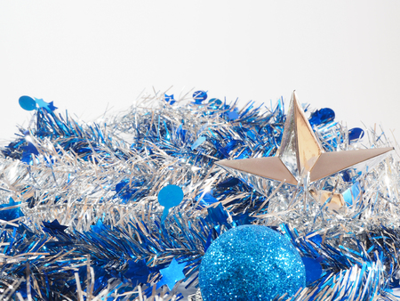 blue ball: blue and silver streamer and decoration Stock Photo