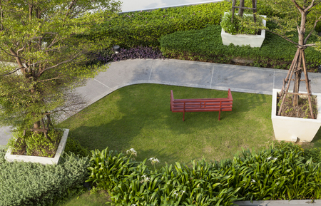 Top view of sky garden with bench photo