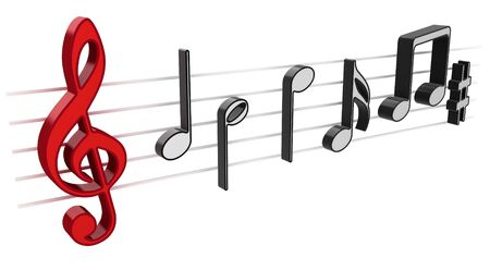 3D music notes on white background photo