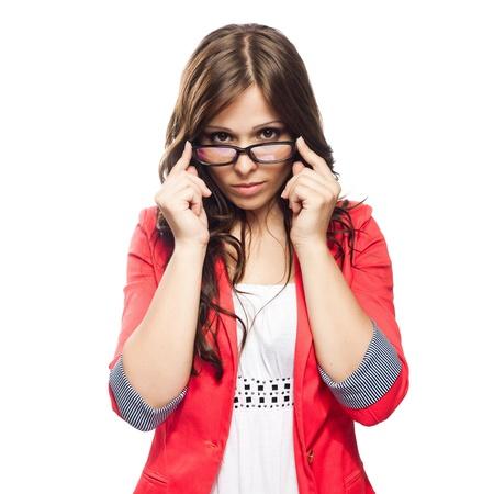 glass eye: Se�ora joven con gafas aislados en fondo blanco