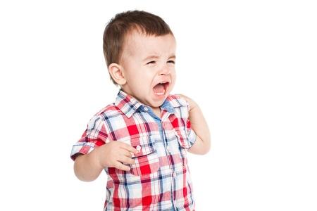 Little baby boy crying  Isolated on white bakcground Stock Photo - 15719635