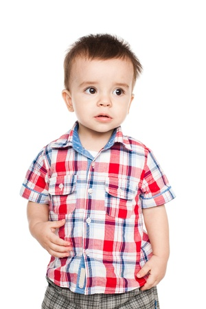 Portrait of happy little boy, isolated on white background photo