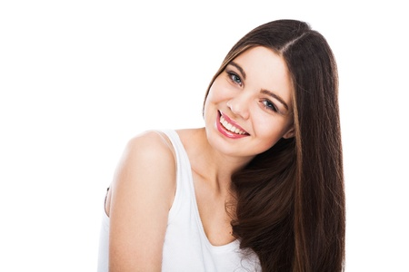 happy teens: Beautiful smiling woman isolated on white background