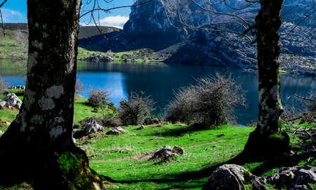 amazong picturesque enol lake forest Foto de archivo