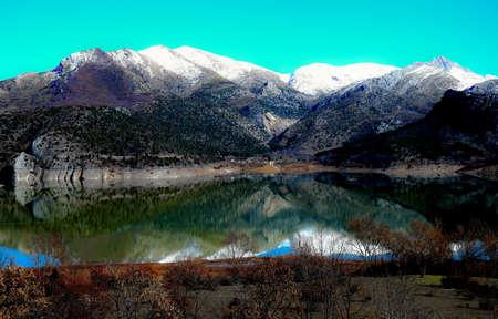 beautiful blue sky lake Barrios de Luna reservoir viewpoint in province of Leon in Spain