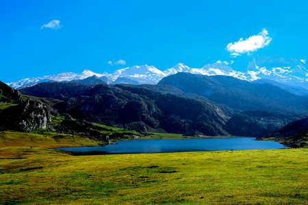 beautiful lake Ercina in the Picos de Europa in Asturias Spain landscape, outdoors, peak, picturesque, pond Foto de archivo