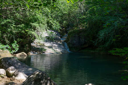 Stretch of the Gorners river, with its beautiful intense green colors and flowing water Foto de archivo