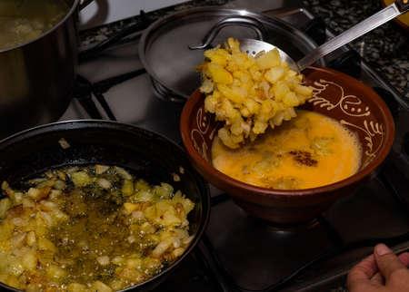 tasty Spanish potato omelette with onion Foto de archivo