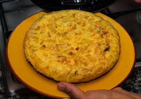 tasty Spanish potato omelette with onion
