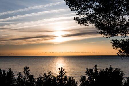 Sunset in the cove of Cap Roig, Costa brava de Girona Foto de archivo