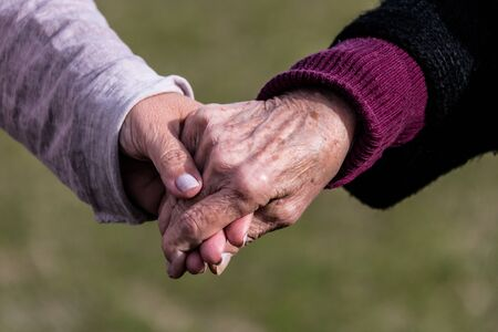 Affection and tenderness of a granddaughter to her grandmother. Traits of aging on the hands