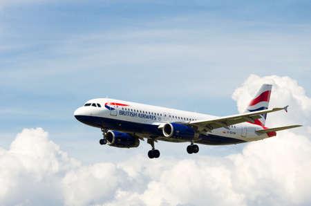 Barcelona, Spain; May 18, 2019: Airbus A320-232 aircraft of the British Airways company, landing at the Josep Tarradellas airport in Barcelona-El Prat
