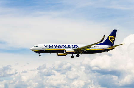 Barcelona, Spain; May 18, 2019: Boeing 737 plane of the Ryanair company, landing at the Josep Tarradellas airport in Barcelona-El Prat