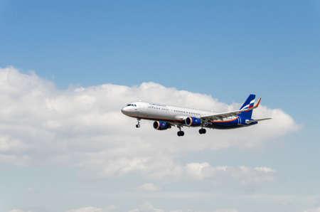 Barcelona, Spain; April 27, 2019: Airbus A321-200 airplane of the Aeroflot airline, landing at the Josep Tarradellas airport in Barcelona-El Prat Editorial